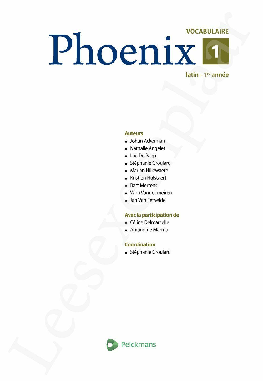 Preview: Phoenix 1 Livret de vocabulaire